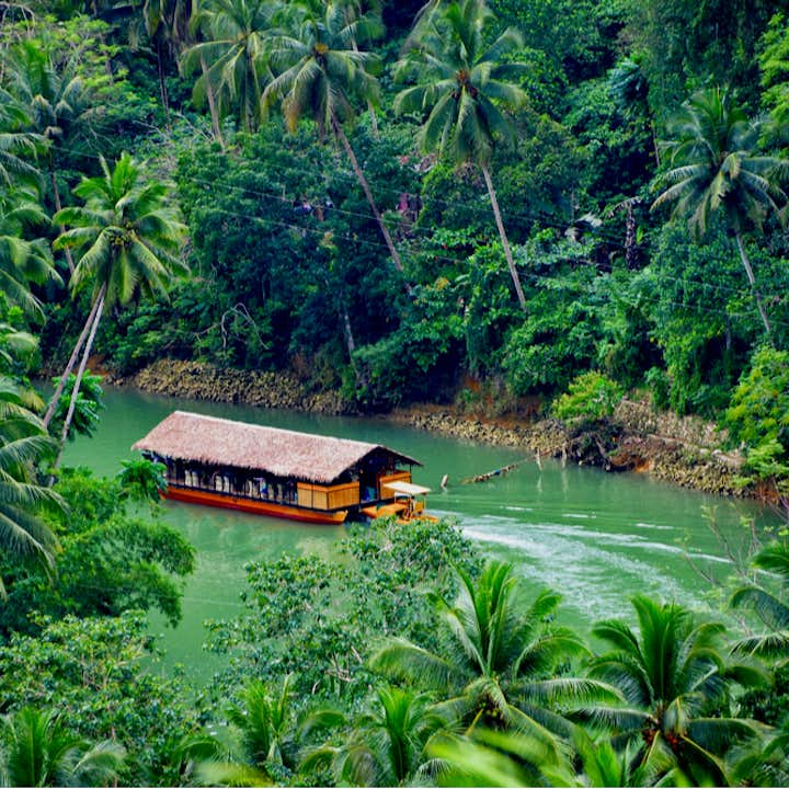 Aerial view of a Loboc River Cruise Tour in Bohol