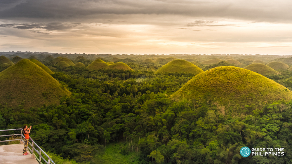 Sunset over Chocolate Hills in Bohol
