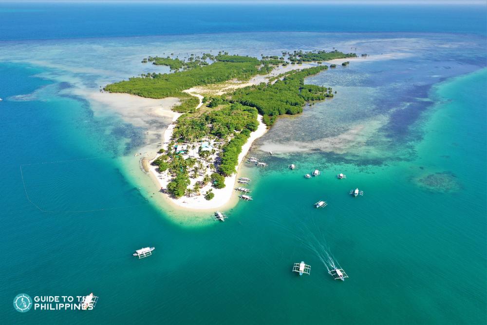 Aerial view of Cowrie Island in Puerto Princesa Palawan