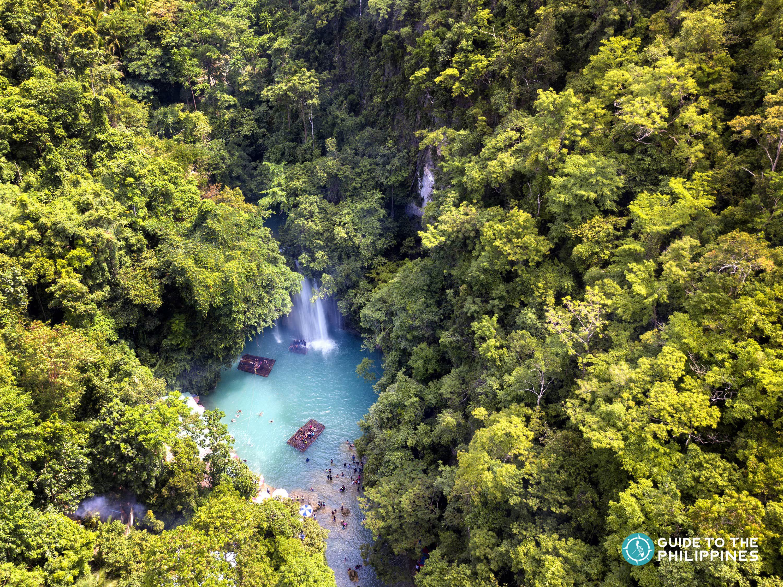 Aerial view of Kawasan Falls in Cebu