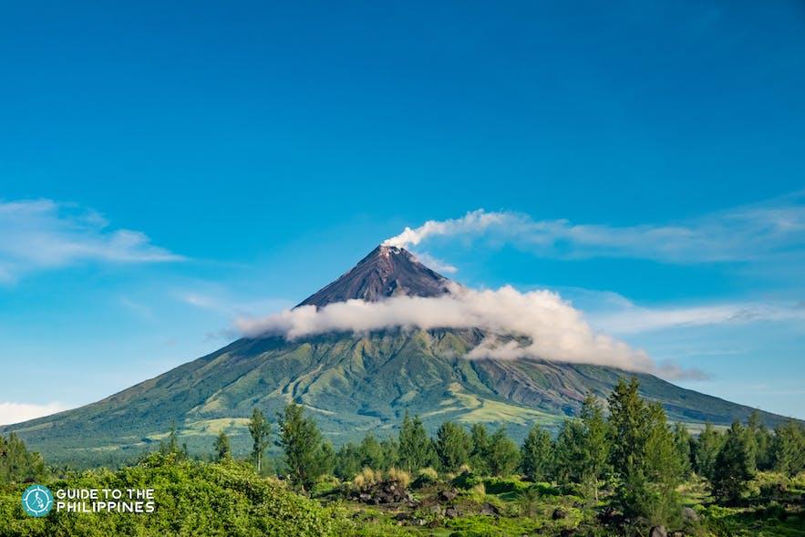 View of Mayon Volcano's smoking peak in Bicol