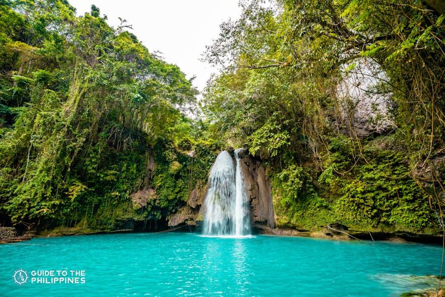 Wide view of Kawasan Falls in Cebu