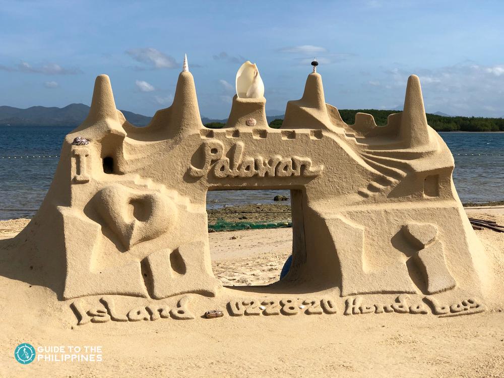 Sand castle on a beach in Honda Bay Palawan