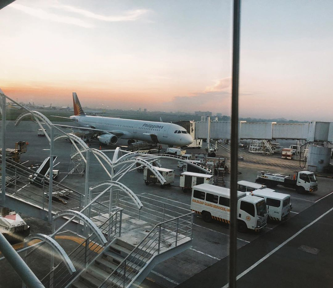 Sunrise view from a window in Manila airport