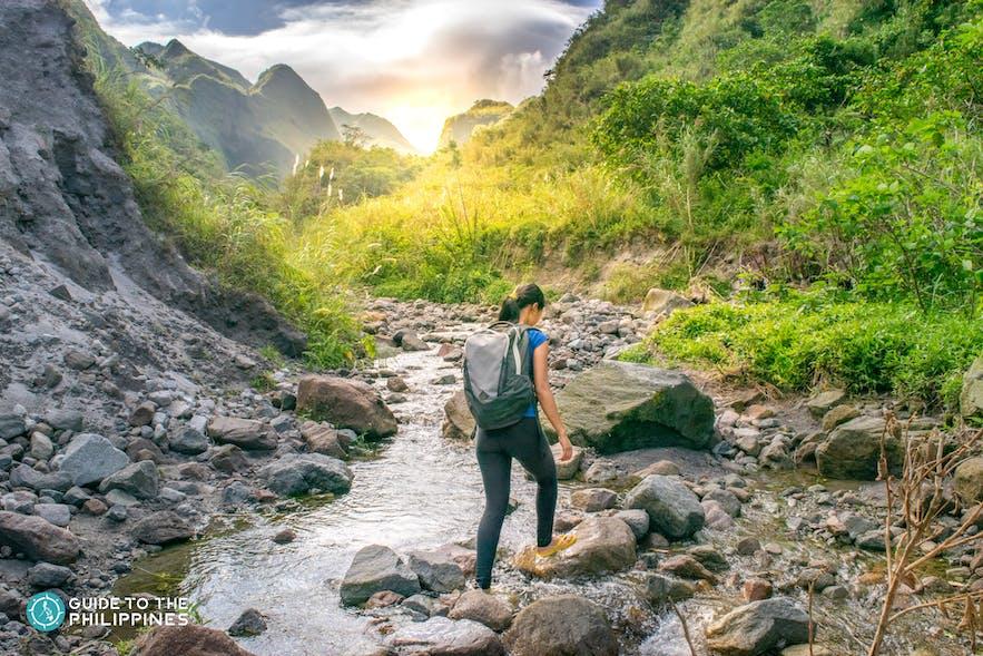 Woman hiking up Mt. Pinatubo