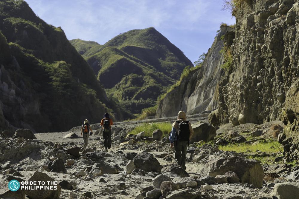 Trekkers going to the peak of Mt. Pinatubo