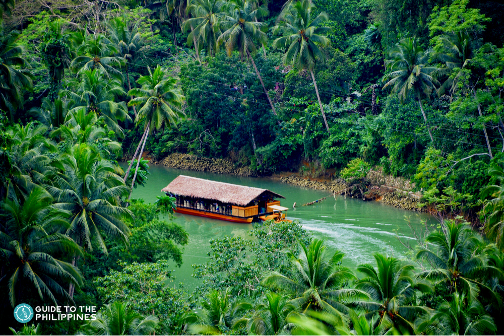 Aerial view of the Loboc River cruise experience in Bohol