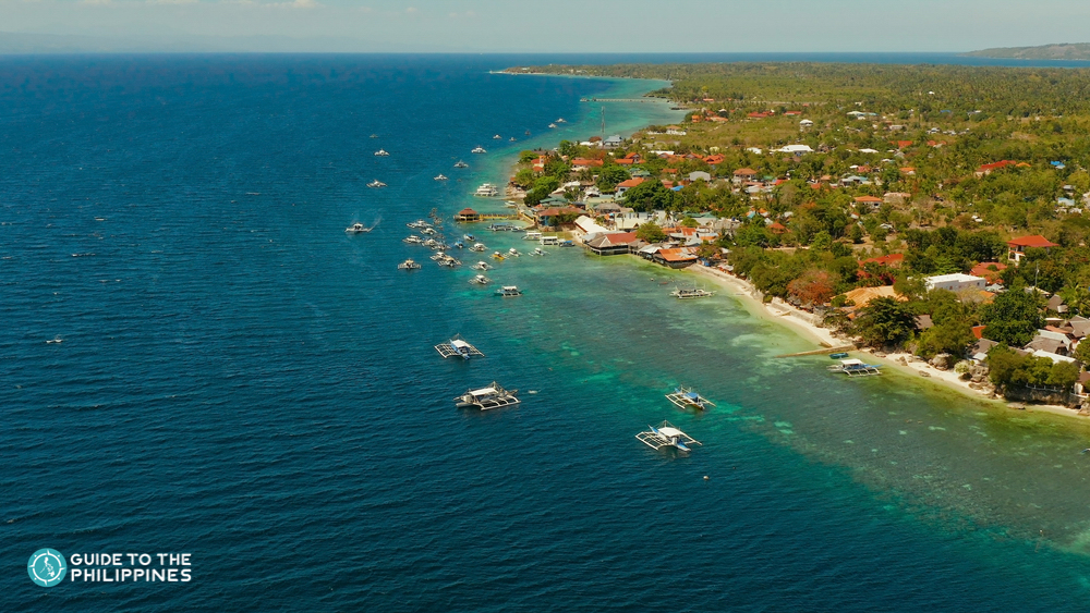 Aerial view of the town of Moalboal in Cebu
