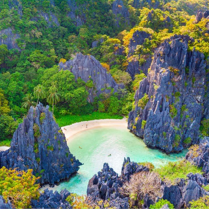 Aerial view of Hidden Lagoon in El Nido Palawan