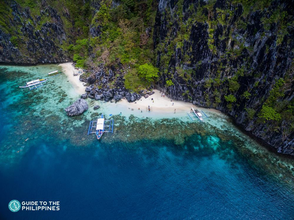 Aerial view of Miniloc Island in El Nido Palawan