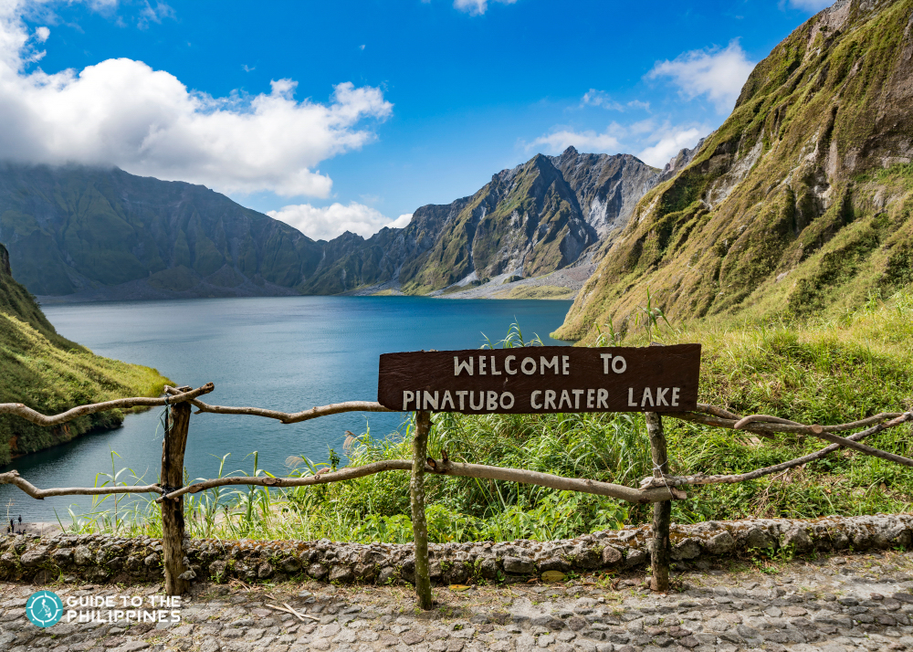 Welcome sign at Mount Pinatubo Crater Lake