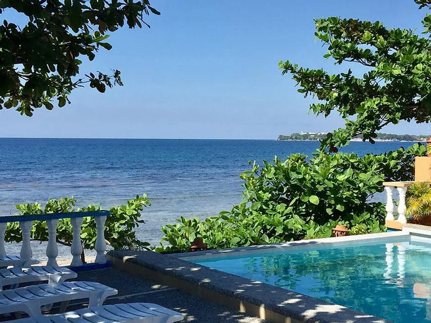 The pool area of Sunset Bay Beach Resort, La Union