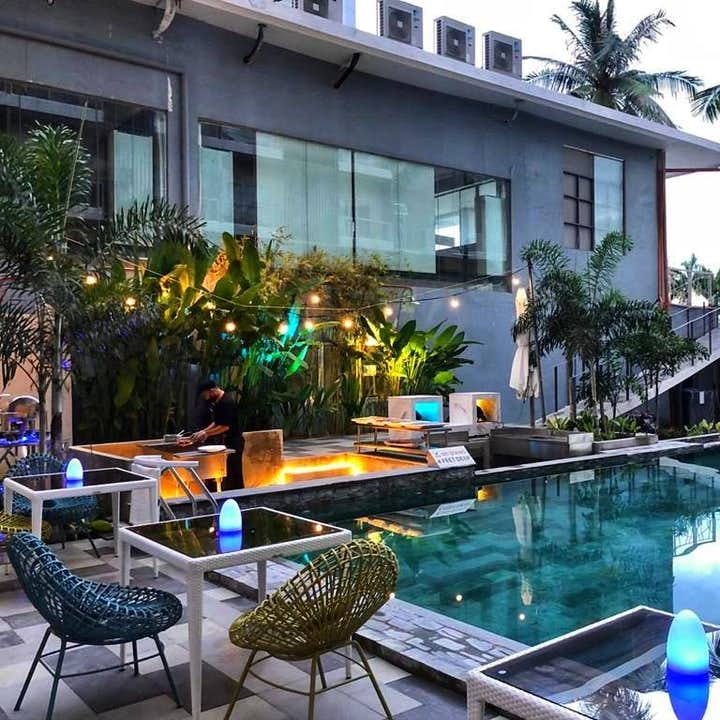 Poolside area at Solea Palms Resort