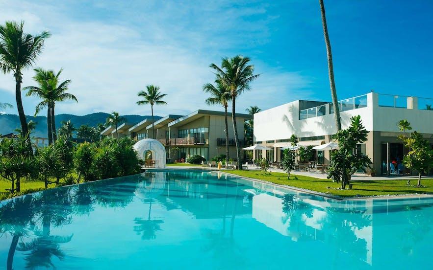The poolside in Costa Pacifica Resort, Baler