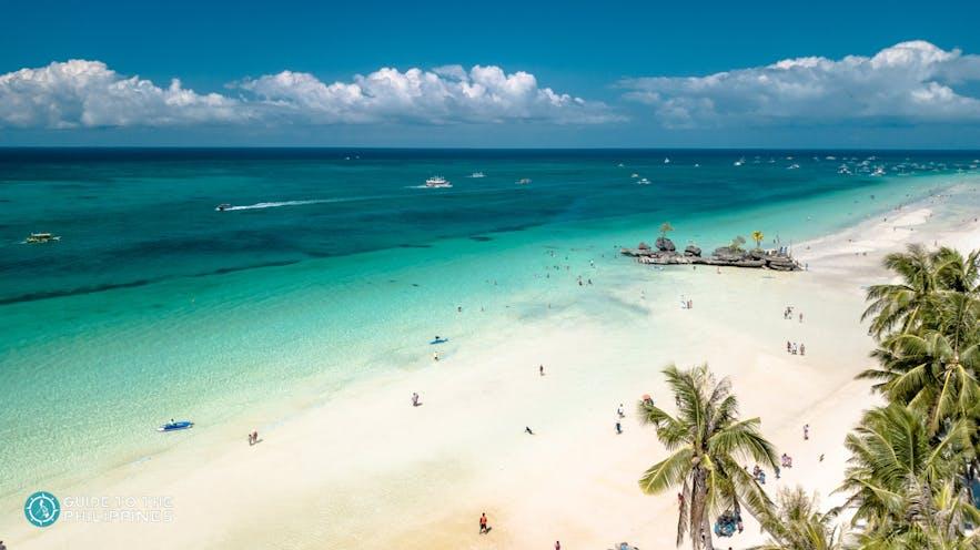 Aerial view of White Beach, Boracay