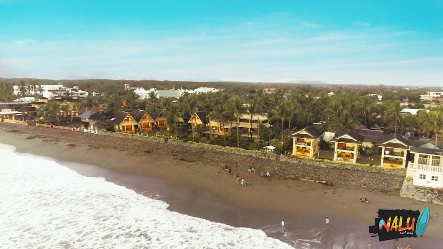 The beachfront of Nalu Surf Camp
