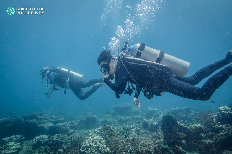 Two divers in Anilao, Batangas