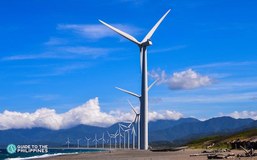 Bangui Windmills lined on a beach in Ilocos Norte