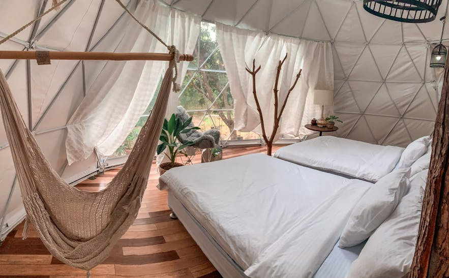 One of the tents in Domescape Glamping