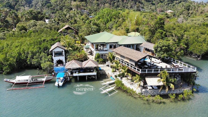 Aerial view of Edgewater Dive & Spa Resort