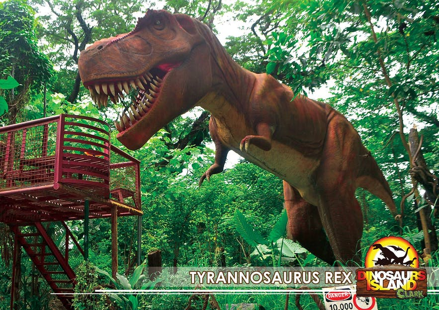 A T-Rex statue in Dinosaurs Island