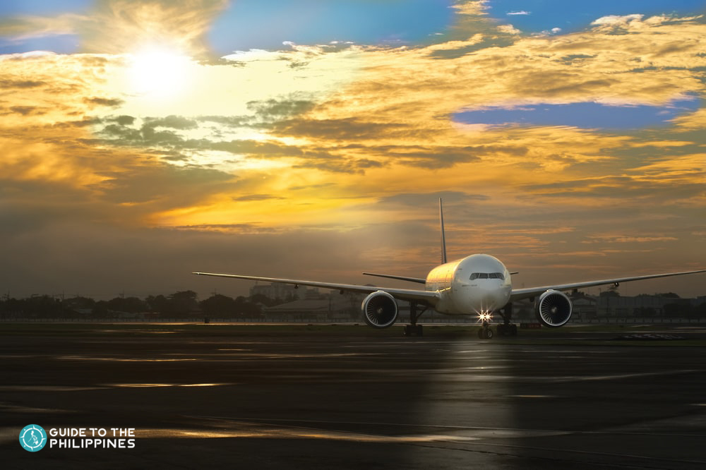 Sunset over an aircraft at NAIA