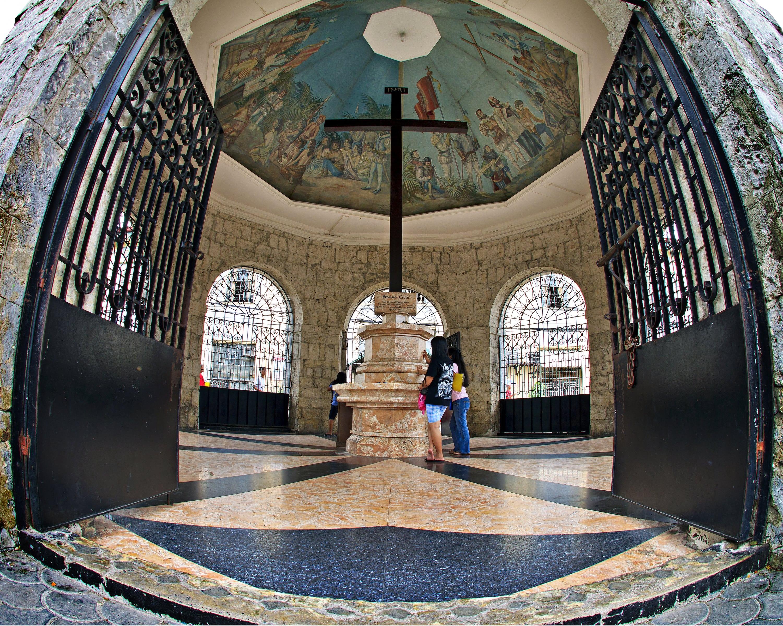 Beautiful ceiling of Magellan's Cross in Cebu
