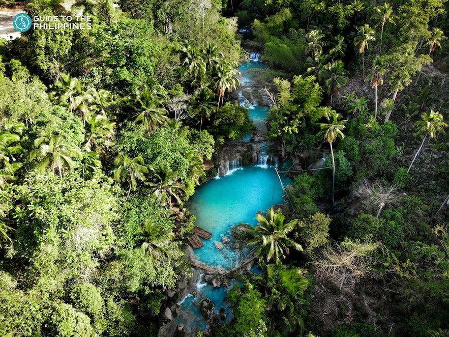 Aerial view of Cambugahay Falls in Siquijor