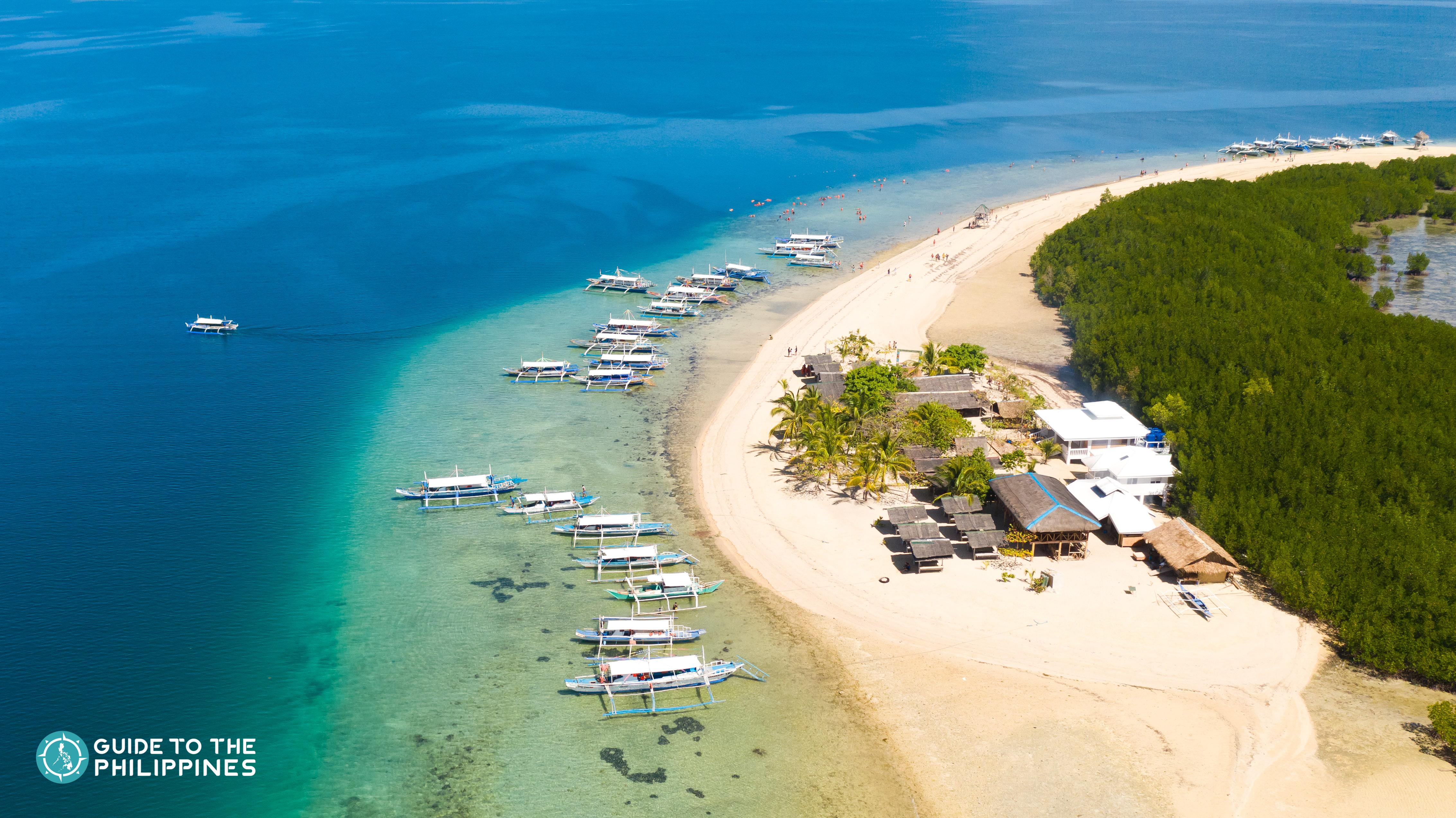 Aerial view of Starfish Island in Puerto Princesa Palawan