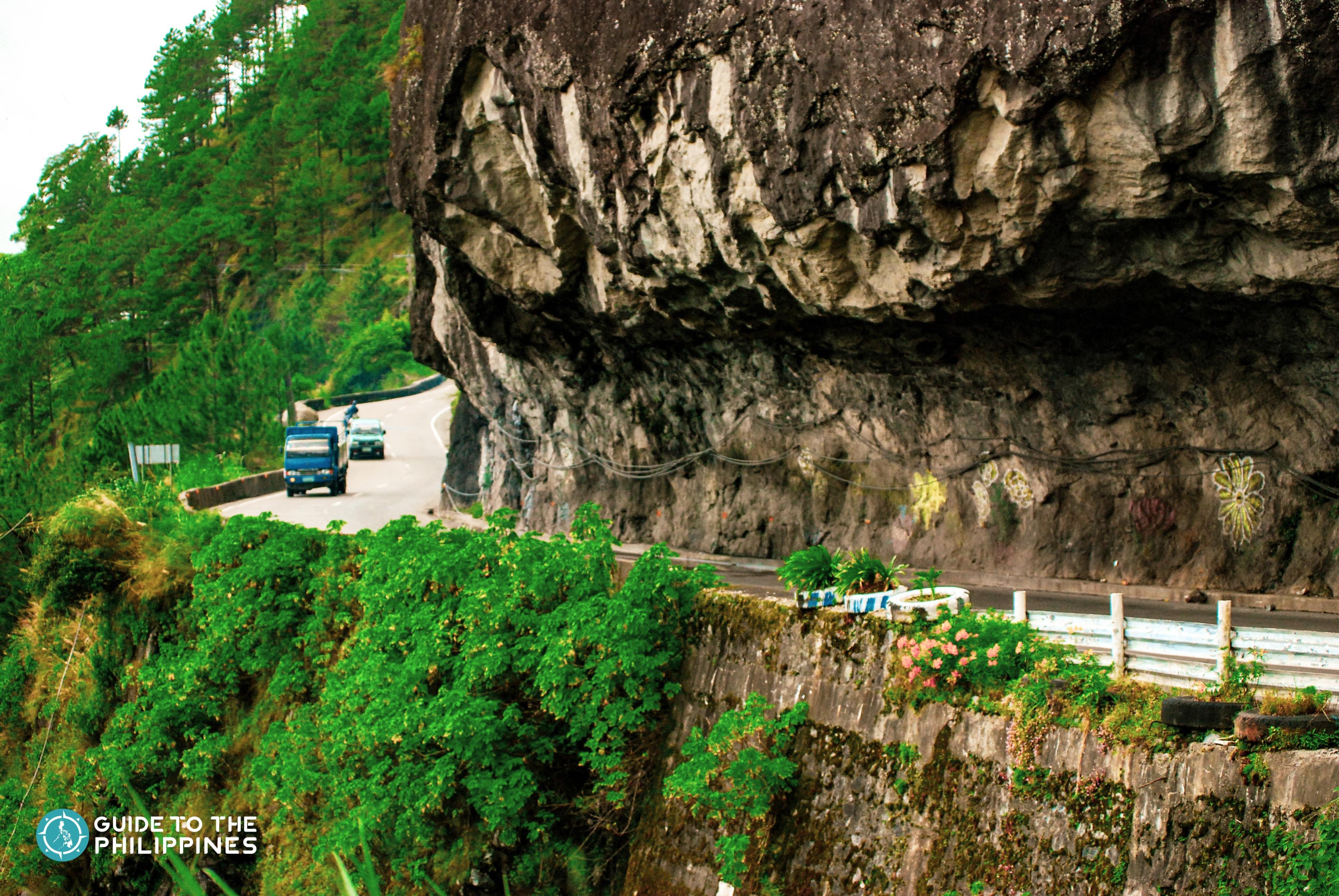 A car passing through Halsema Highway in Benguet