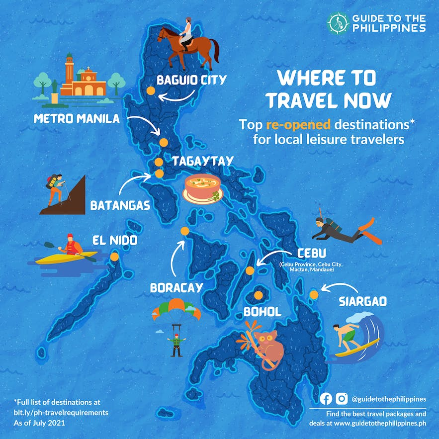 Where to Travel: Map of Reopened destinations in the Philippines