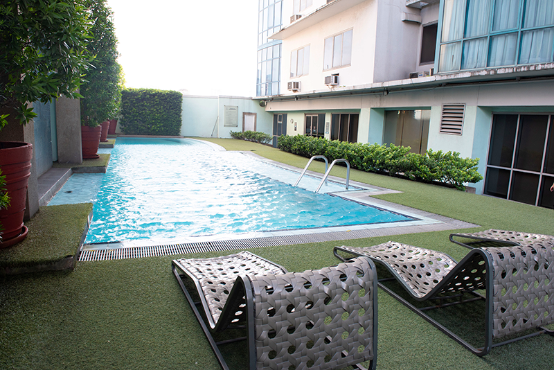 Pool area of Astoria Plaza Hotel
