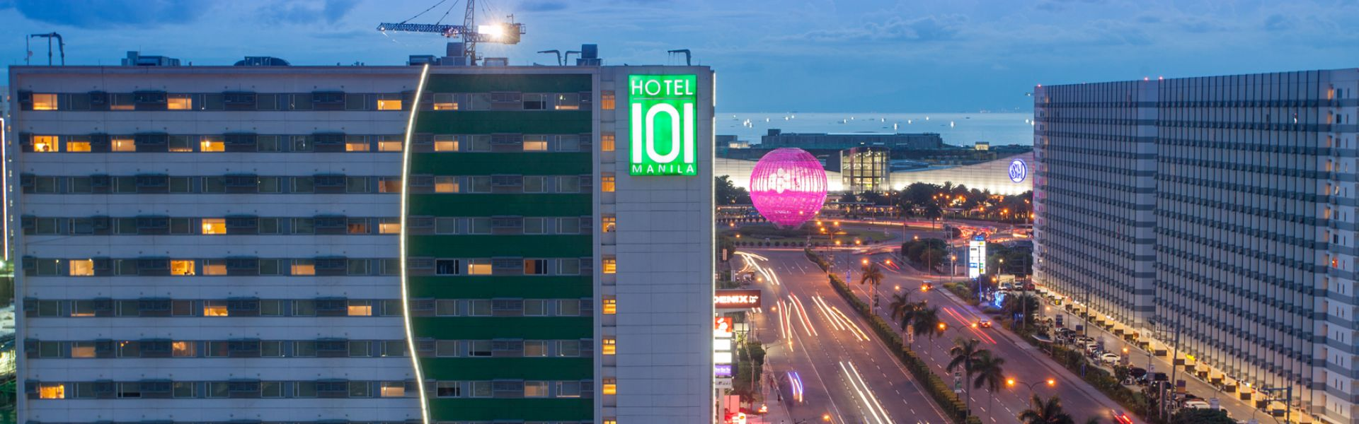 View of Hotel 101 in Manila at night