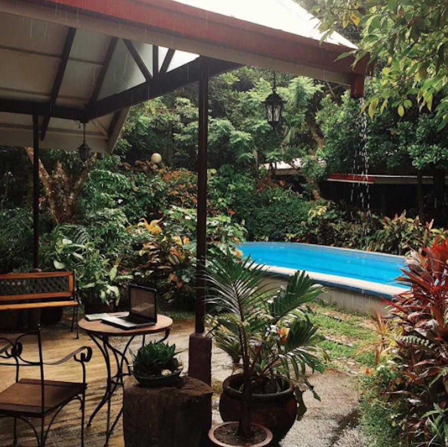 Poolside of Coffee Farmhouse