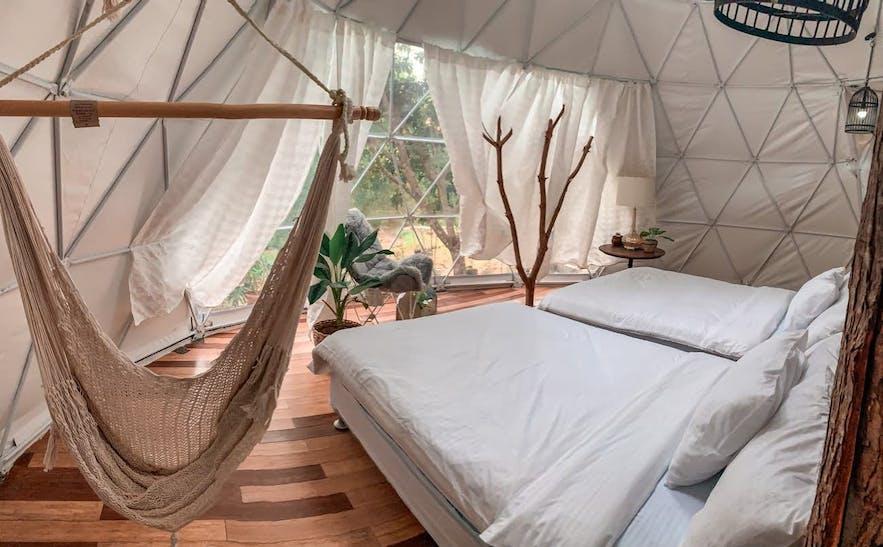 Interior of a Domescape tent