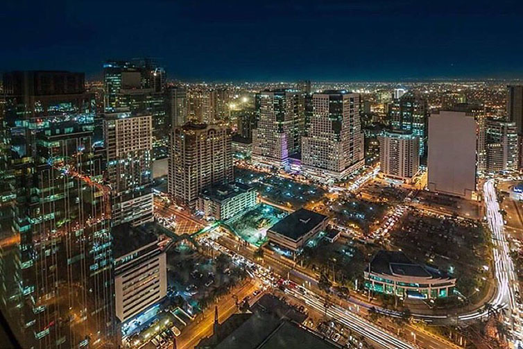 Aerial view of the Ortigas skyline from Discovery Suites