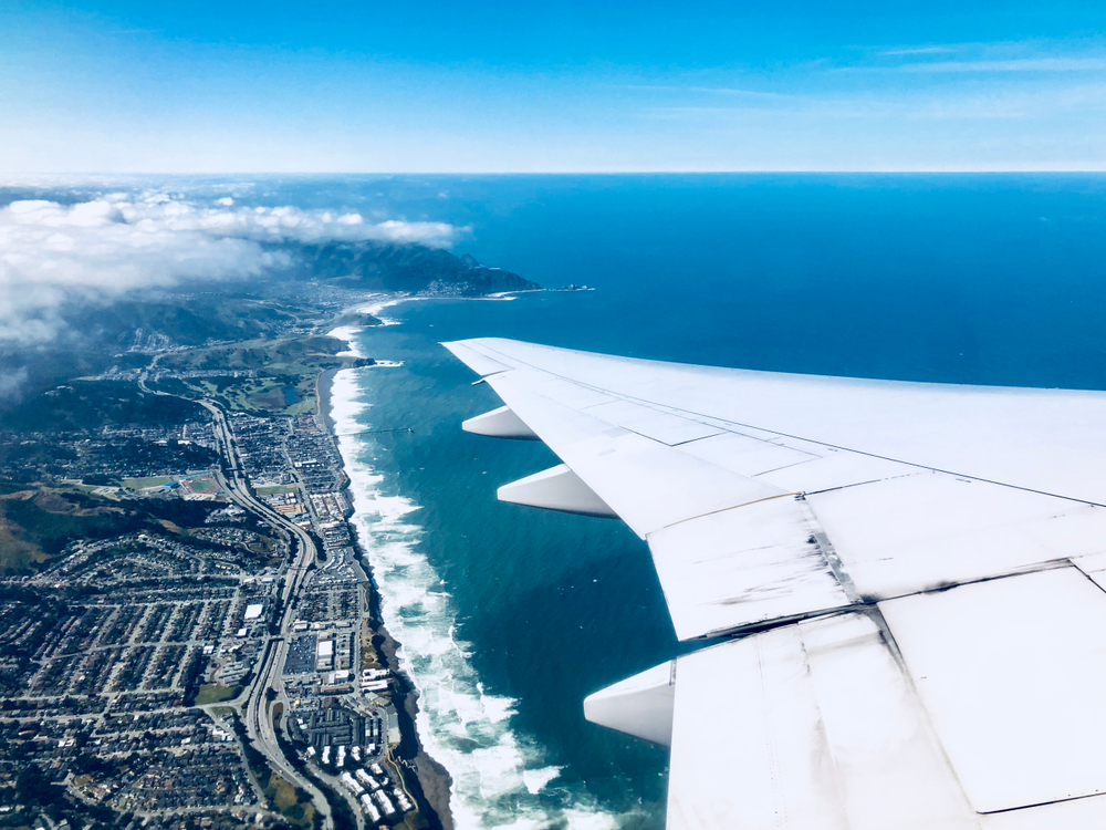 View of San Francisco Beach from the plane going to Manila
