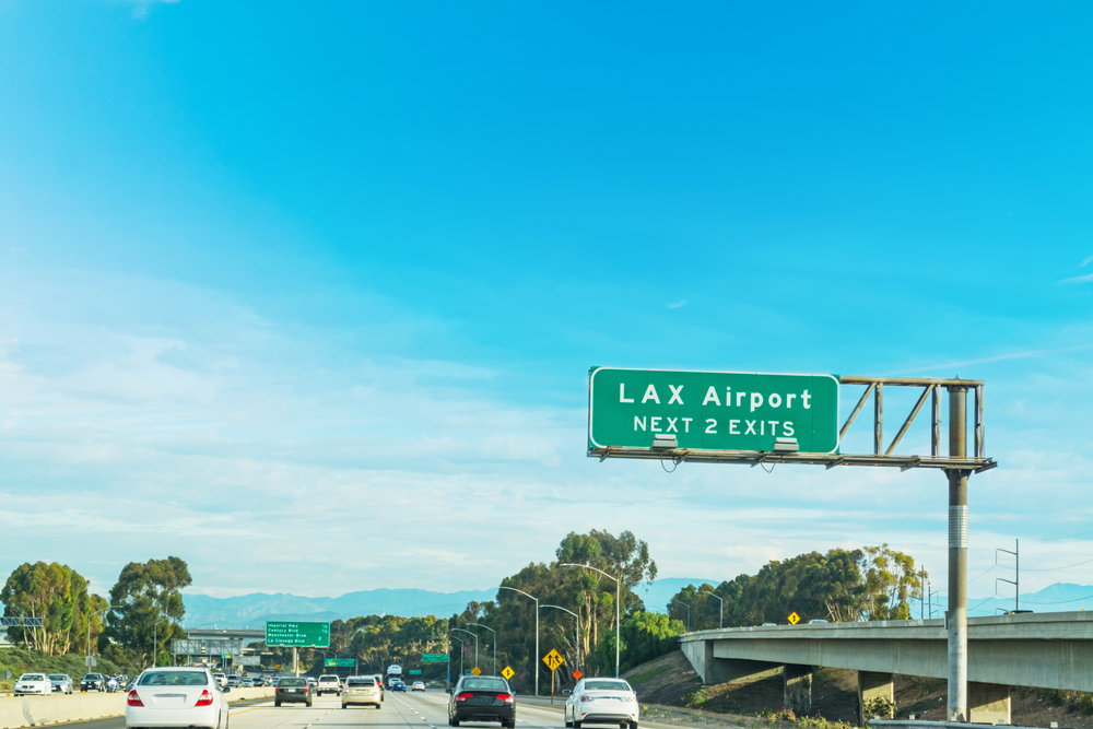 Road going to Los Angeles Airport in California