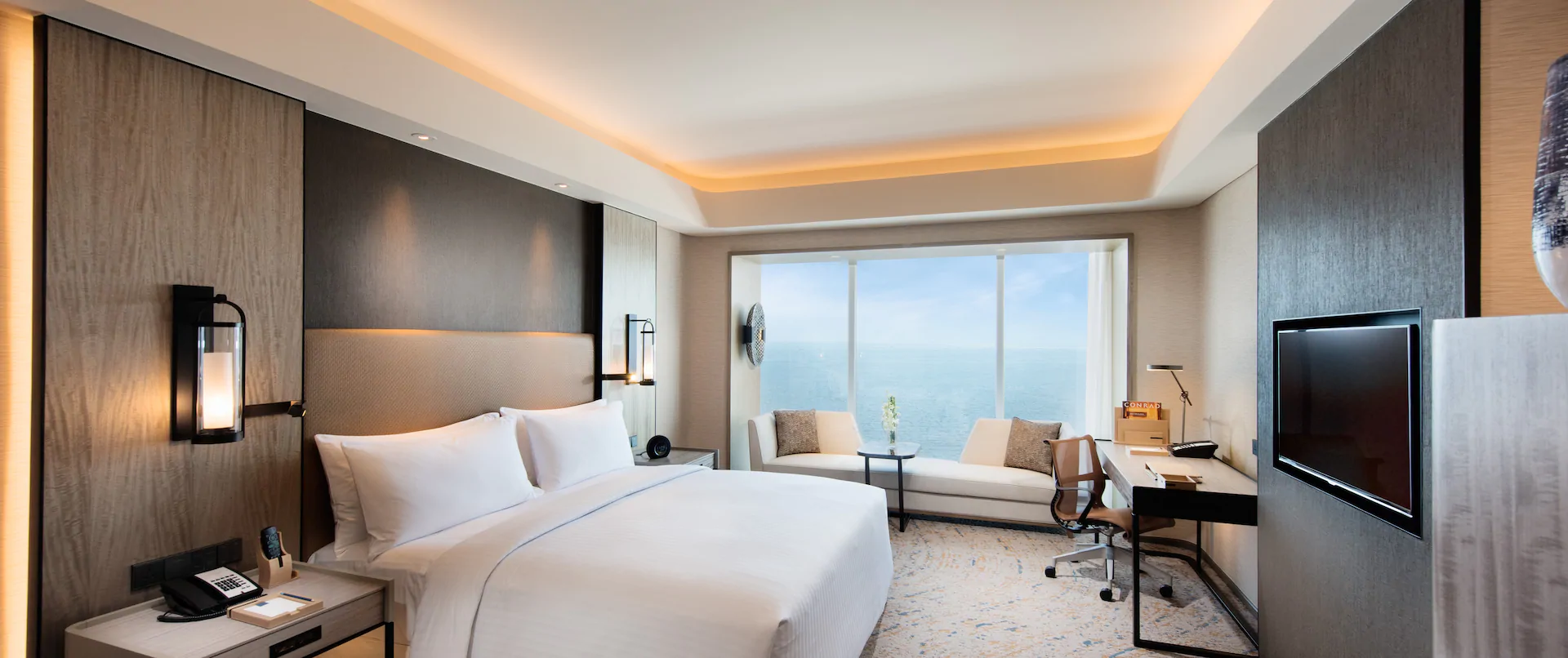 Beautiful view of Manila Bay from a deluxe room in Conrad Hotel