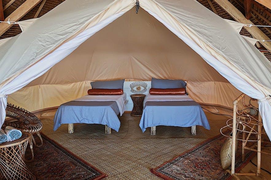 A glamping tent in Punta Punta Surf Retreat
