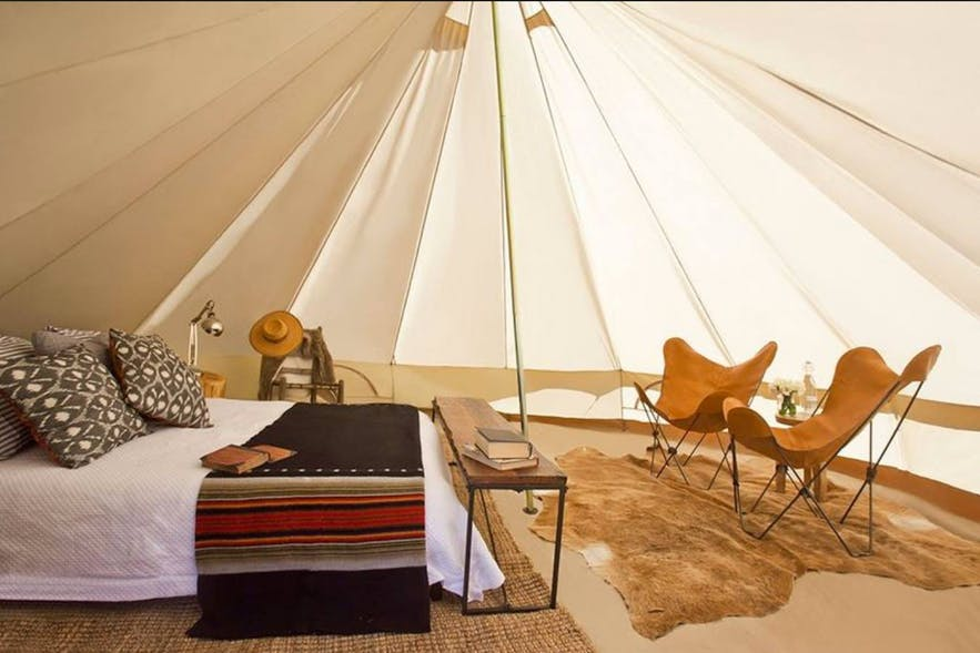 Interior of a glamping tent in Glamping Siquijor