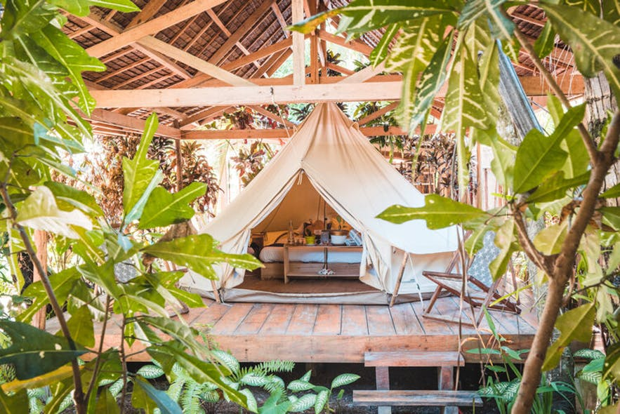 A glamping tent in Soultribe Beach Retreat