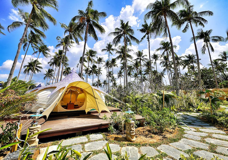 A tent in Nacpan Beach Glamping