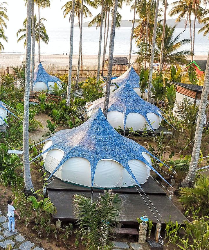 Glamping tents in Nacpan Beach Glamping