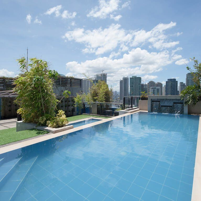 Pool area at Y2 Residence in Makati