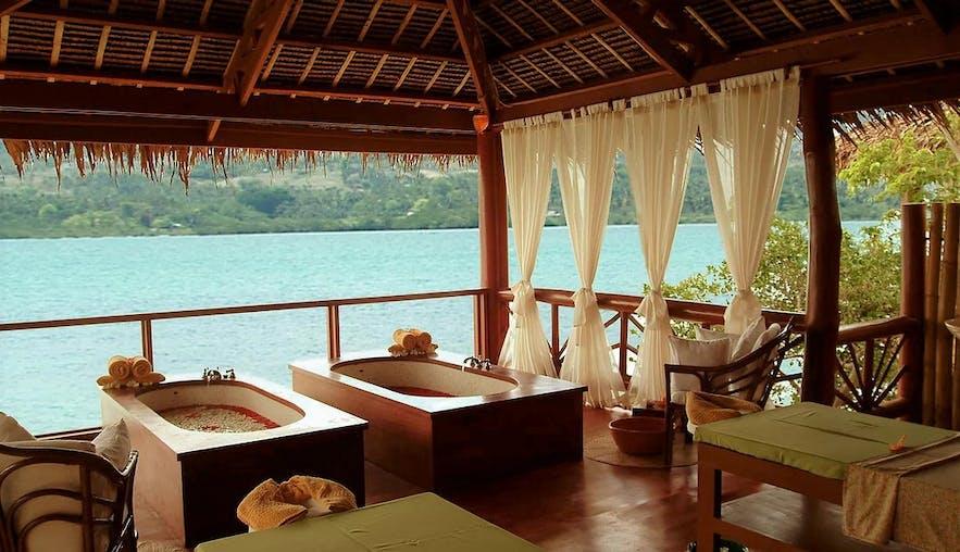 A spa treatment hut in Badian Island Wellness Resort