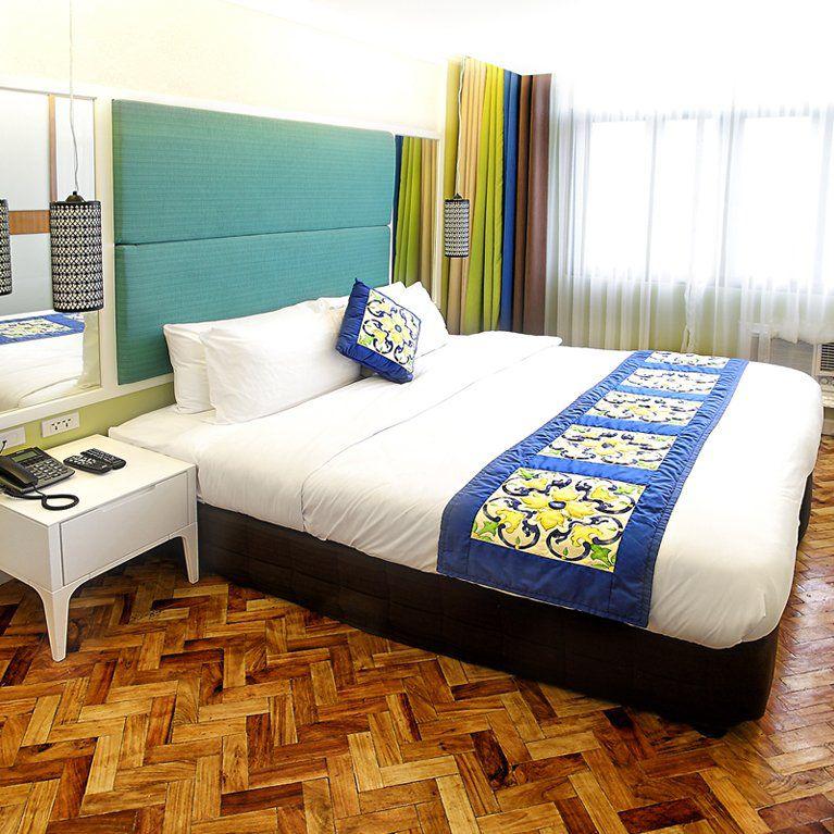 Colorful interiors of a bedroom in Parque Espana
