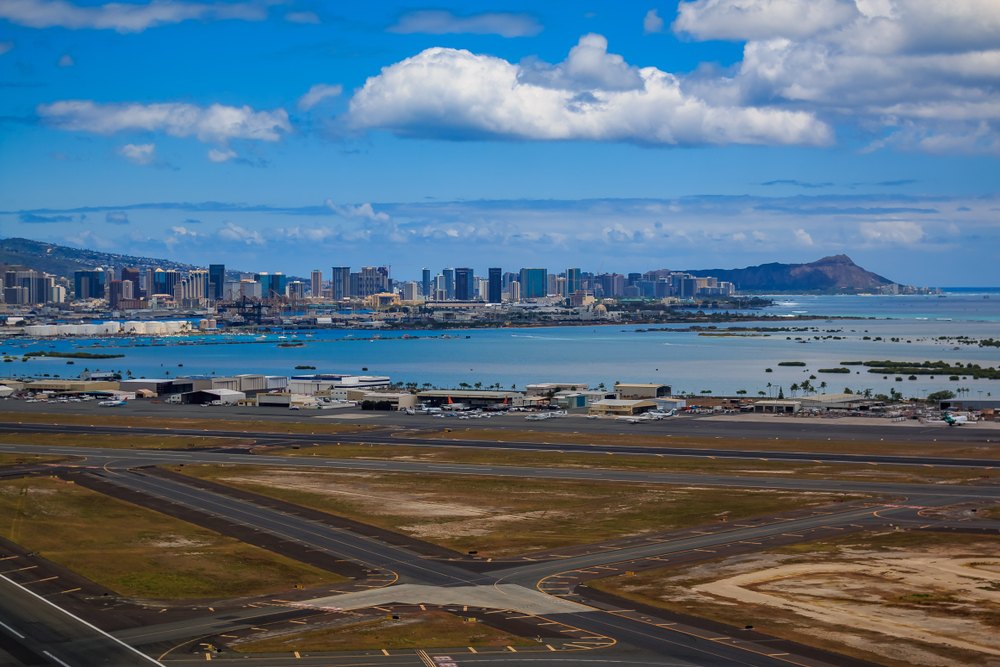 View from the Honolulu International Airport in Hawaii