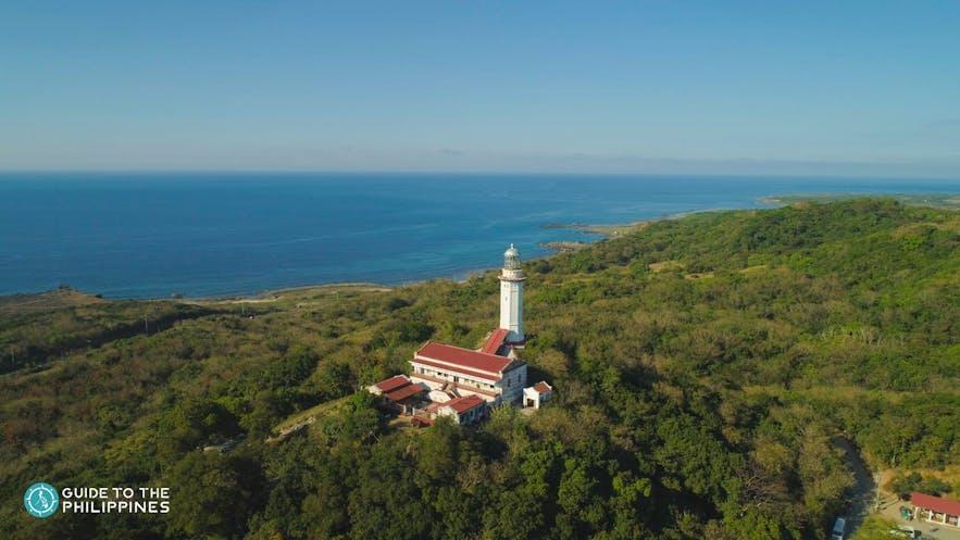 Cape Bojeador Lighthouse atop a hill in Ilocos Norte