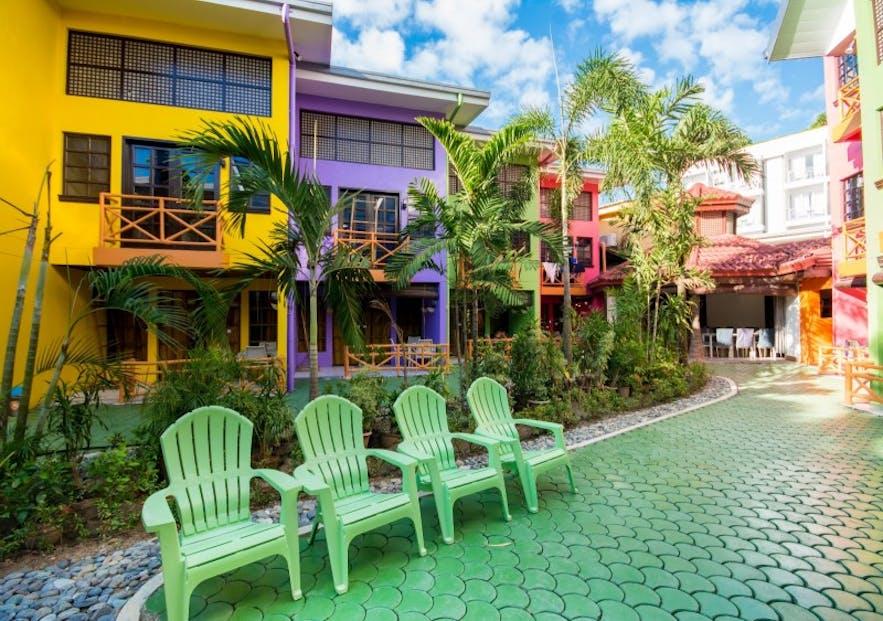 Lounge chairs in The Club Ten Beach Resort Boracay